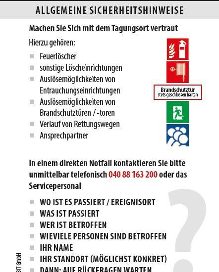 Allgemeine Sicherheitshinweise, wie sie auf einer Taschenkarte zu finden sein können. Bild: IBIT GmbH