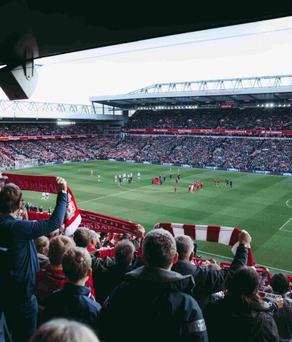 Fans in einem Stadion halten ihre Schals hoch